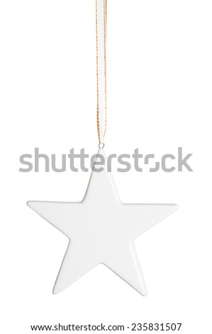 White hanging christmas star isolated over white - stock photo