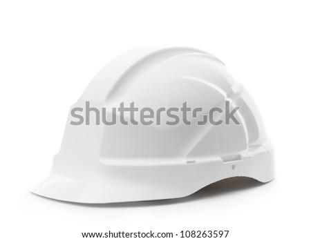White hard hat, isolated on white - stock photo