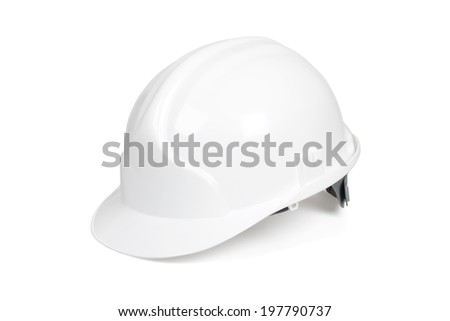 White hard hat isolated on white with clipping path. - stock photo