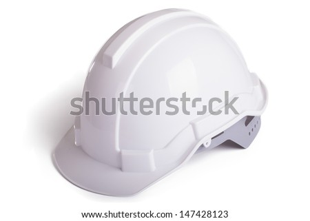 White Hard Hat with Clipping Path - stock photo