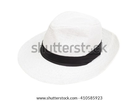 White hat woman  isolated on white blackground  - stock photo
