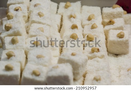 White hazelnut Turkish Delight - stock photo