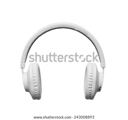 White headphones on white background, isolated - stock photo