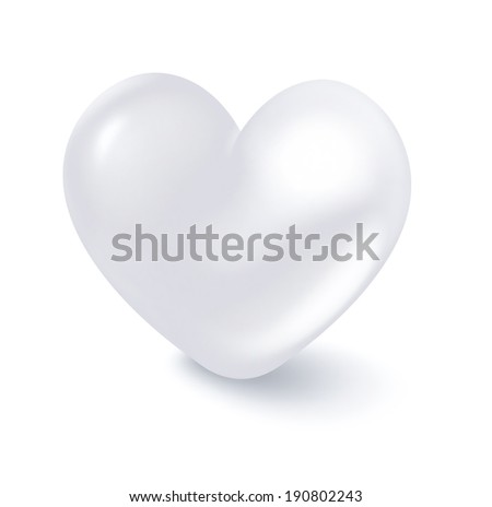 white heart on a white background - a pure heart concept - stock photo