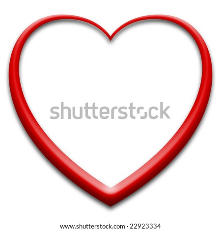 White heart with red 3d outline - stock photo