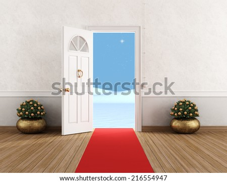 White home entrance with open door,little christmas tree and red carpet - rendering - stock photo