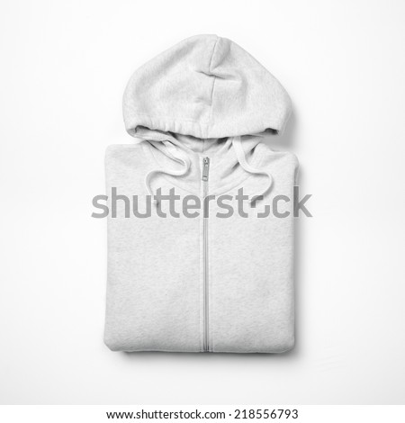White hooded sweater isolated on white background - stock photo