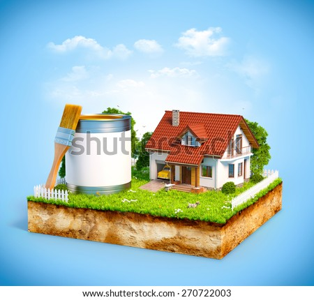 White house and  paint can with brush on a piece of earth with garden and trees. Unusual illustration  - stock photo