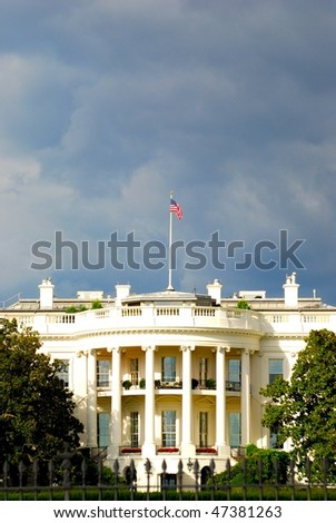 White house before storm - stock photo