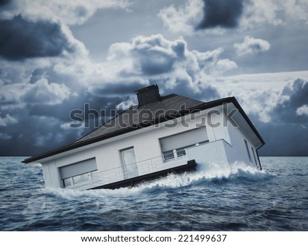 White house in water, flood - stock photo