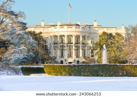 White House in Winter - Washington DC, United States of America  - stock photo