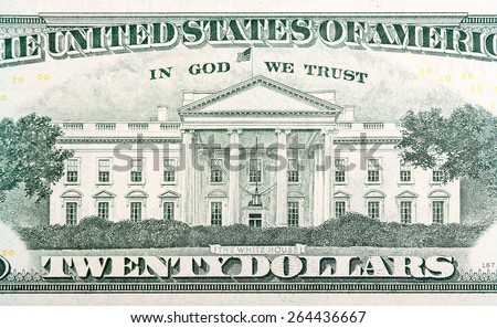 White House on the twenty dollar bill. - stock photo