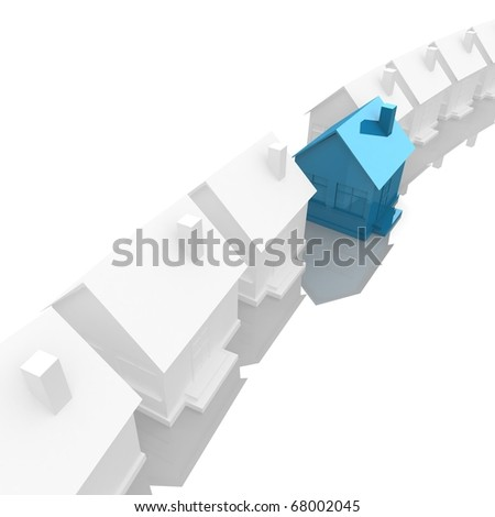 White House stand along the line, and is located in the center of the house blue. 3d computer modeling - stock photo