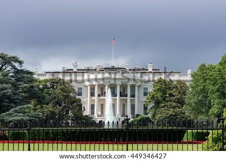 White House Washington DC view on cloudy day background - stock photo
