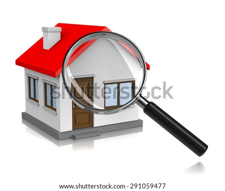 White House with Magnifier on White Background 3D Illustration, Looking for Home Concept - stock photo