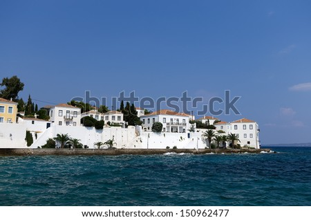 White houses in Spetses island, Greece - stock photo