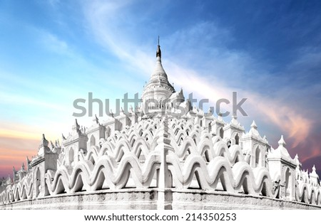 White Hsinbyume pagoda temple in Myanmar (Burma), Mandalay  - stock photo