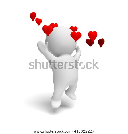 white human 3d person cheering happily in a ring of red hearts in a white scene (3D illustration isolated on a white background) - stock photo