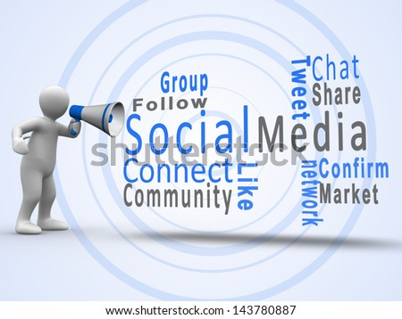 White human figure revealing social media terms with a megaphone - stock photo