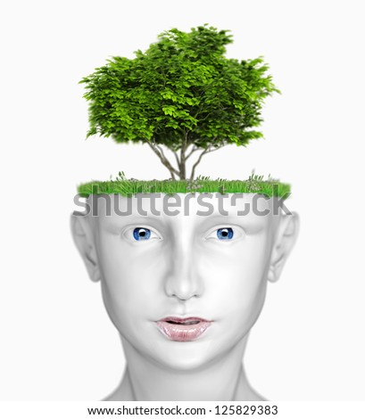 white human head with tree (3D concept) - stock photo