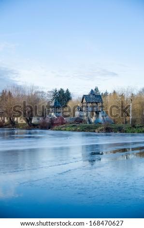 white ice on winter river - stock photo