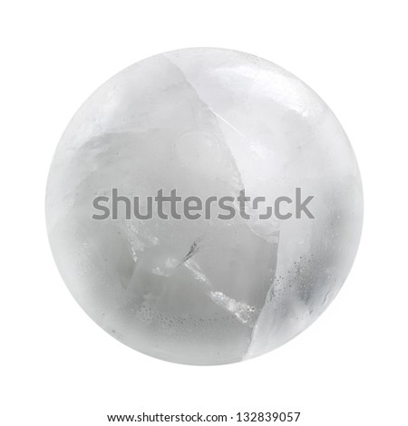 White ice sphere isolated - stock photo