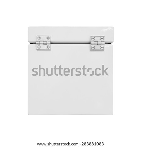 White industrial metal box with closed cover on hinges isolated on white - stock photo