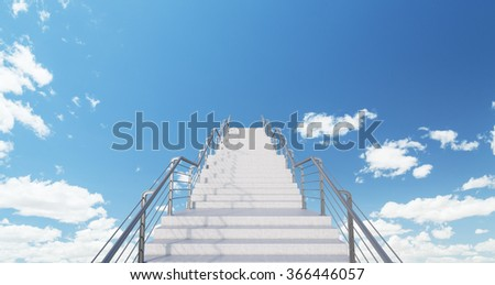 White infinite modern stairs in the centre of the picture leading up into the blue sky. Concept of self-development. 3D rendering - stock photo