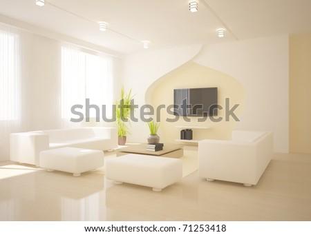 white interior concept - stock photo
