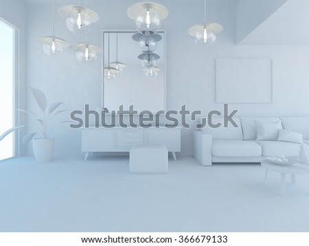 white interior.3d illustration - stock photo