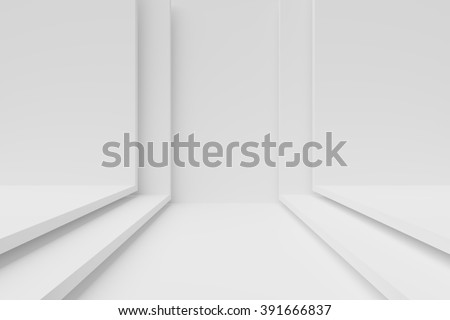 White Interior Design. 3d Abstract Background - stock photo