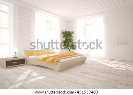 white interior design of bedroom. Scandinavian style. 3D illustration - stock photo