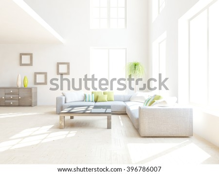 White interior design of living room with colored furniture - 3d illustration - stock photo