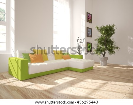 white interior design of living room with green furniture.3D illustration - stock photo