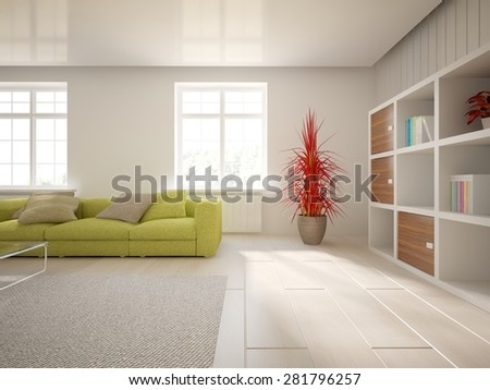 white interior design of modern house -3d rendering - stock photo
