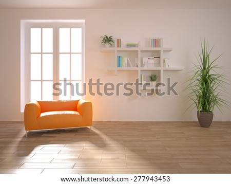 white interior design of modern house with orange furniture -3d rendering - stock photo