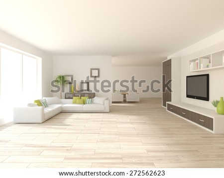 white interior design of modern house with white furniture-3d rendering - stock photo