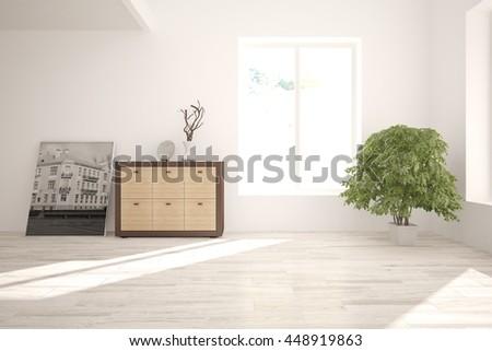 white interior design with shelf. Scandinavian style. 3D illustration - stock photo