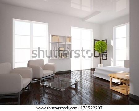 white interior of a bedroom - stock photo