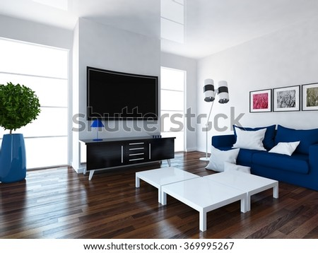white interior of a living room. 3d concept - stock photo
