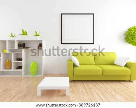 white interior of a living room. 3d rendering - stock photo