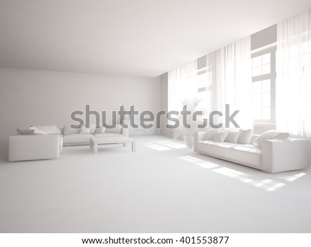 White interior of living room with grey furniture - 3d illustration - stock photo