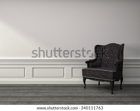 white interior with chair. 3d illustration - stock photo