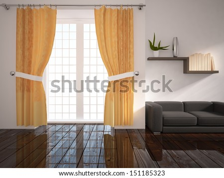 white interior with curtains and black sofa - stock photo