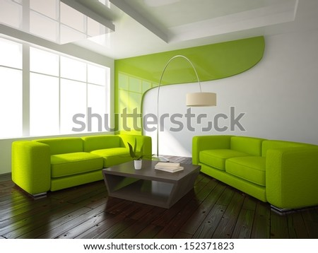white interior with green furniture - stock photo