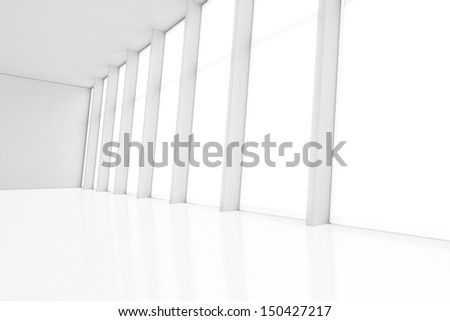 white interior with large window  - stock photo