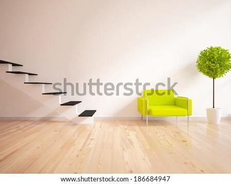 white interior with stairs  - stock photo