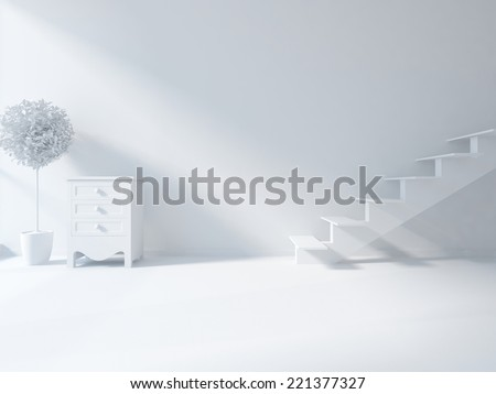white interior with stairs - stock photo