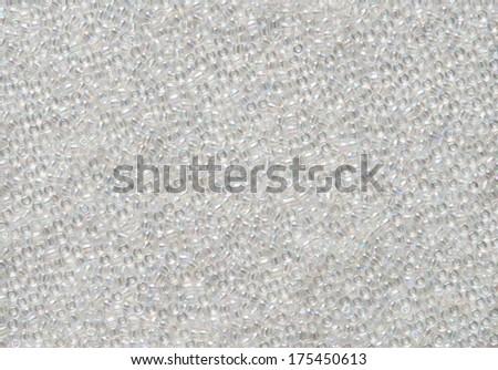 White Iridescent Bead Background - stock photo