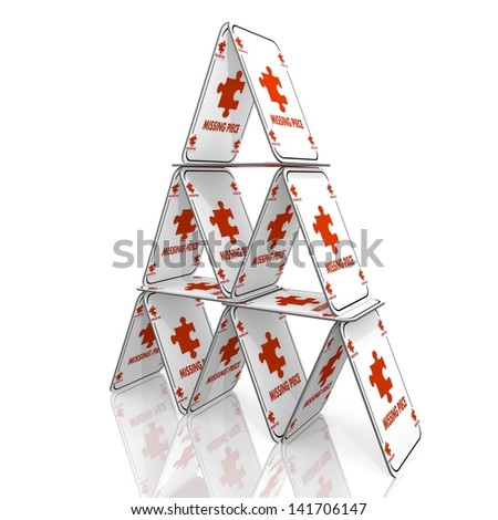 White  isolated idea 3d graphic with complete missing piece symbol  on a card house - stock photo